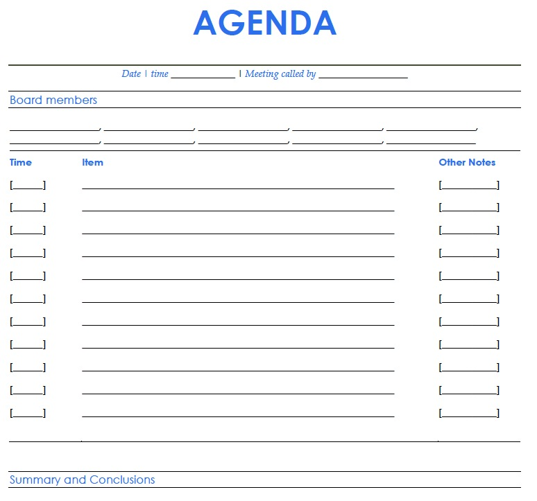 Pin Printable Meeting Agenda Template on Pinterest