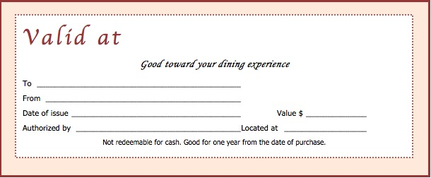 Beautiful Restaurant Gift Certificate Template