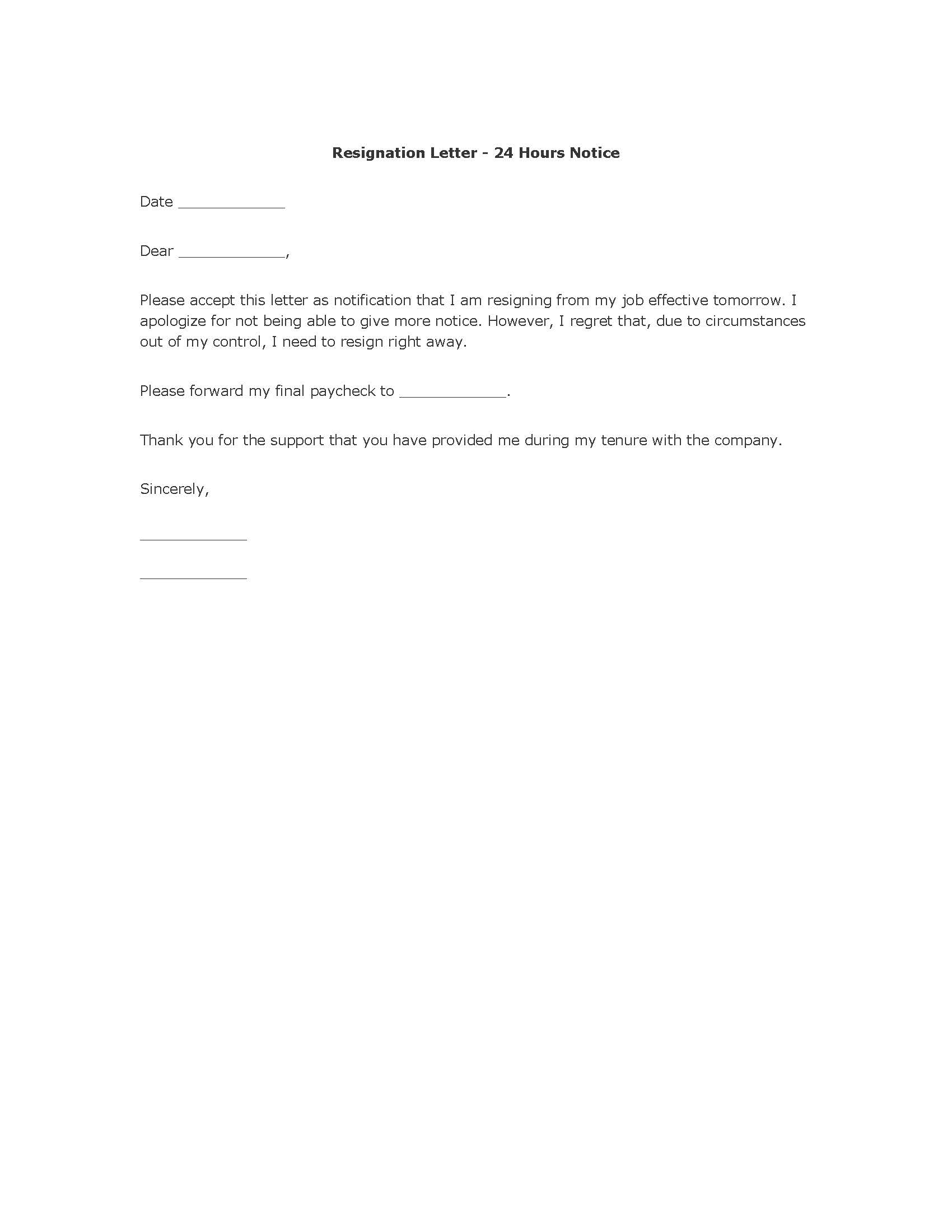 Resignation Letter Template Word – Resignation Format Word