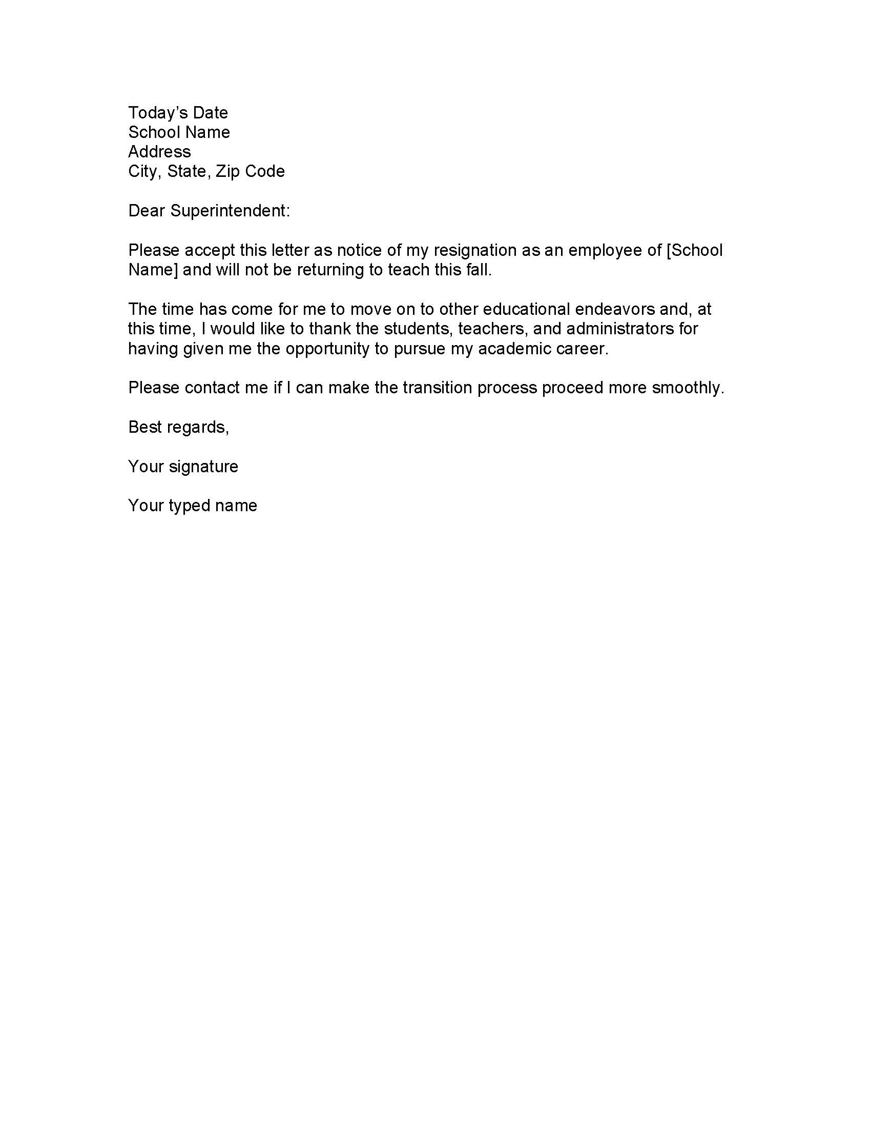 Delightful Sample Teacher Resignation Letter U2013 Word U2013 PDF