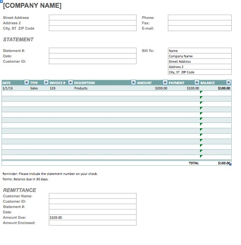 template for invoice statement