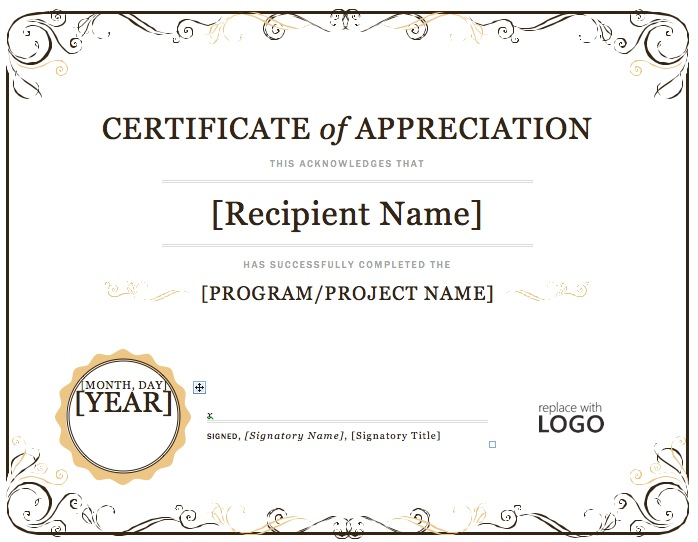 Appreciation Certificate Template Microsoft Word