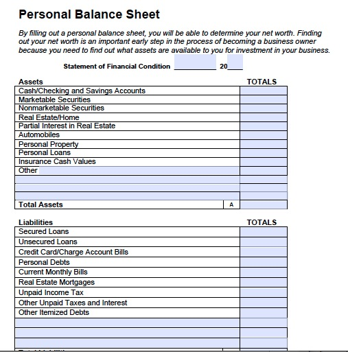 Doc510642 Template for Balance Sheet Sample Balance Sheet – Blank Balance Sheet Form
