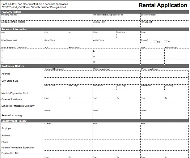 Rental Application Template – Microsoft Excel