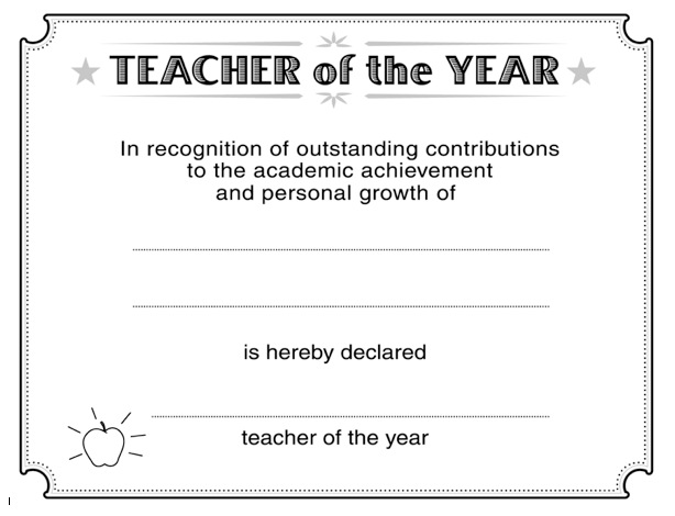 Download Teacher of the Year Certificate Template