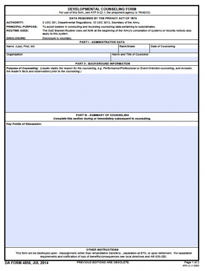 Da 4856 Developmental Counseling Form Department Of The