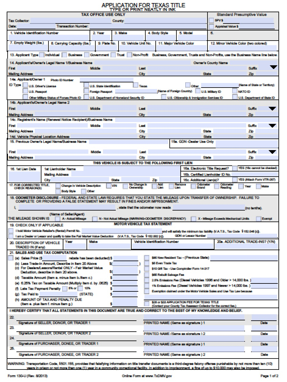 Download Texas Form 130 U
