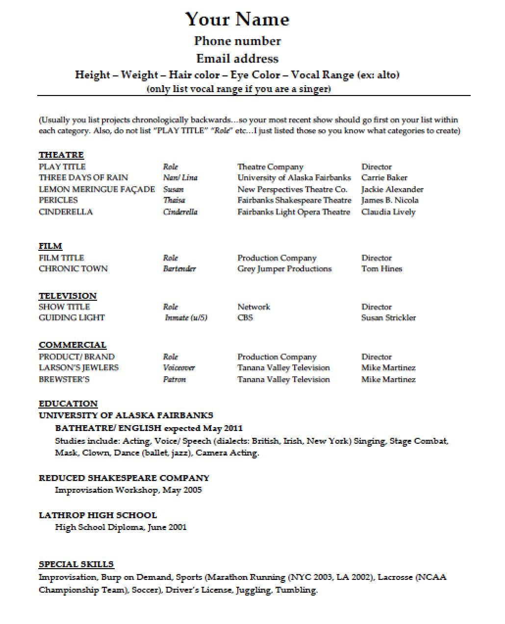 acting resume template doc tk acting resume template