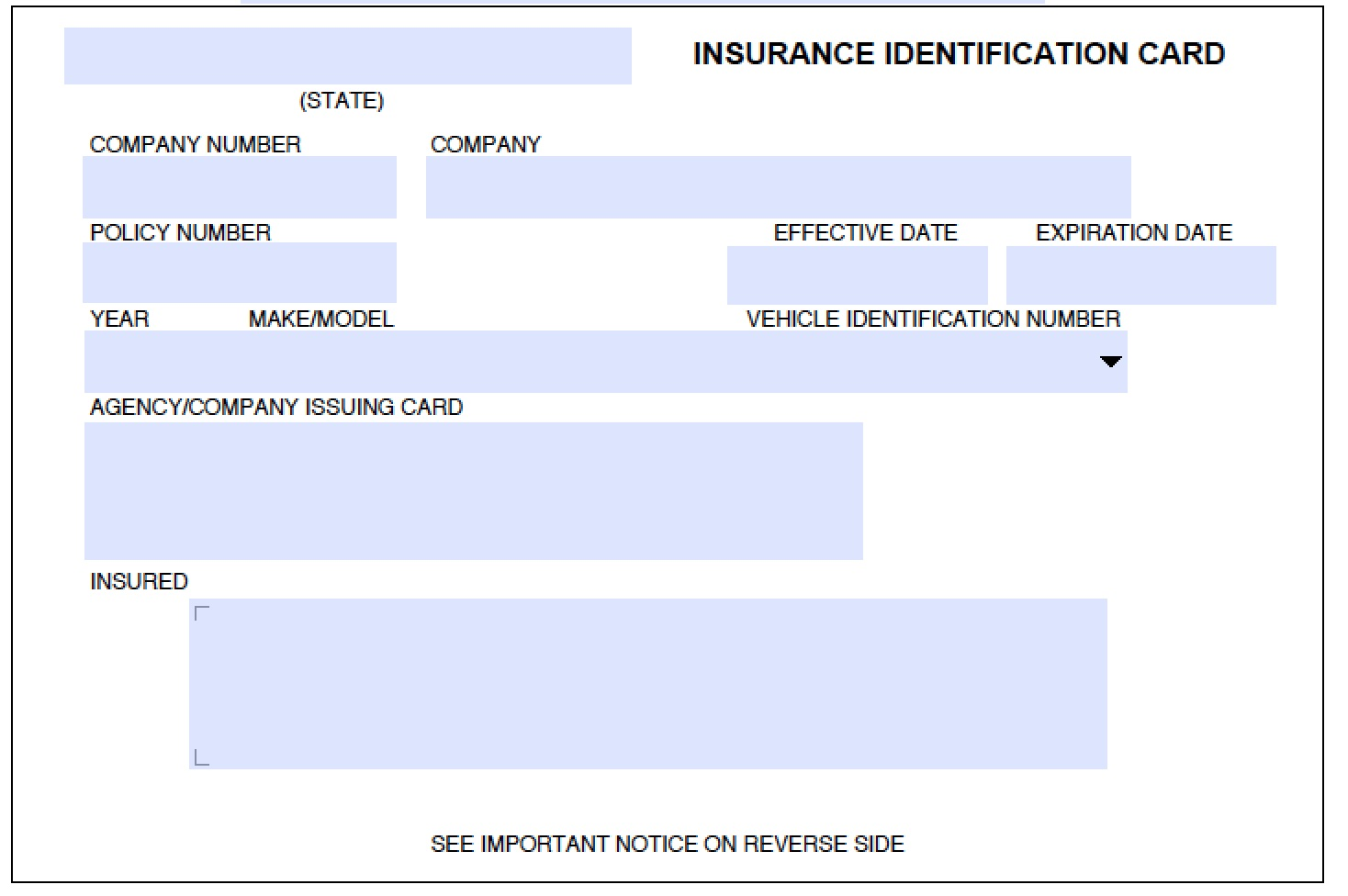 car insurance card template 28 images printable auto policy – Blank Id Card Template