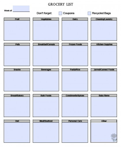 Download Blank Grocery List Templates | PDF | Word | Excel