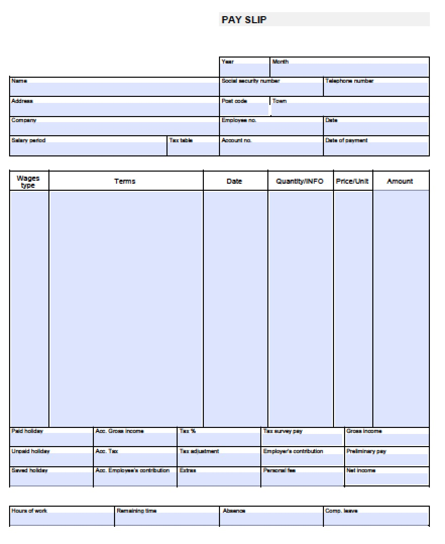 recurring pay stub template enter employee