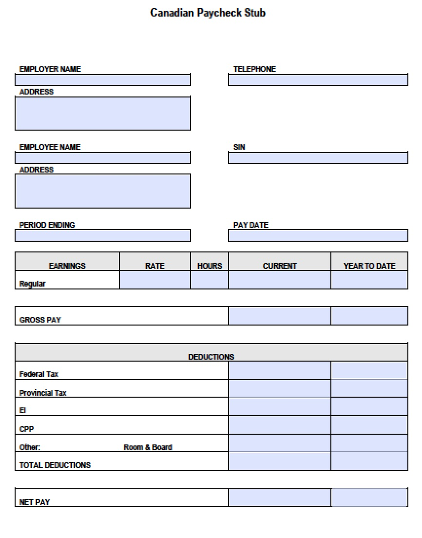 Download Canadian Pay Stub Form Pdf Template