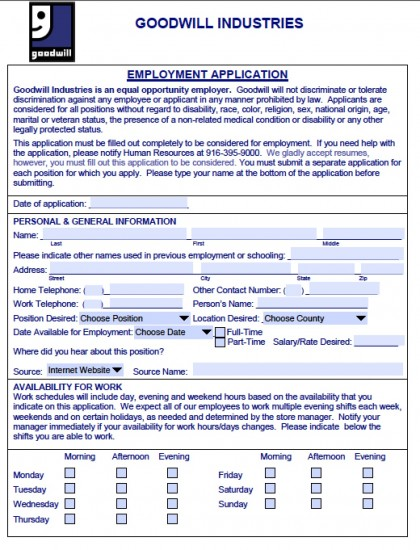 Download Goodwill Job Application Form Fillable Adobe Pdf