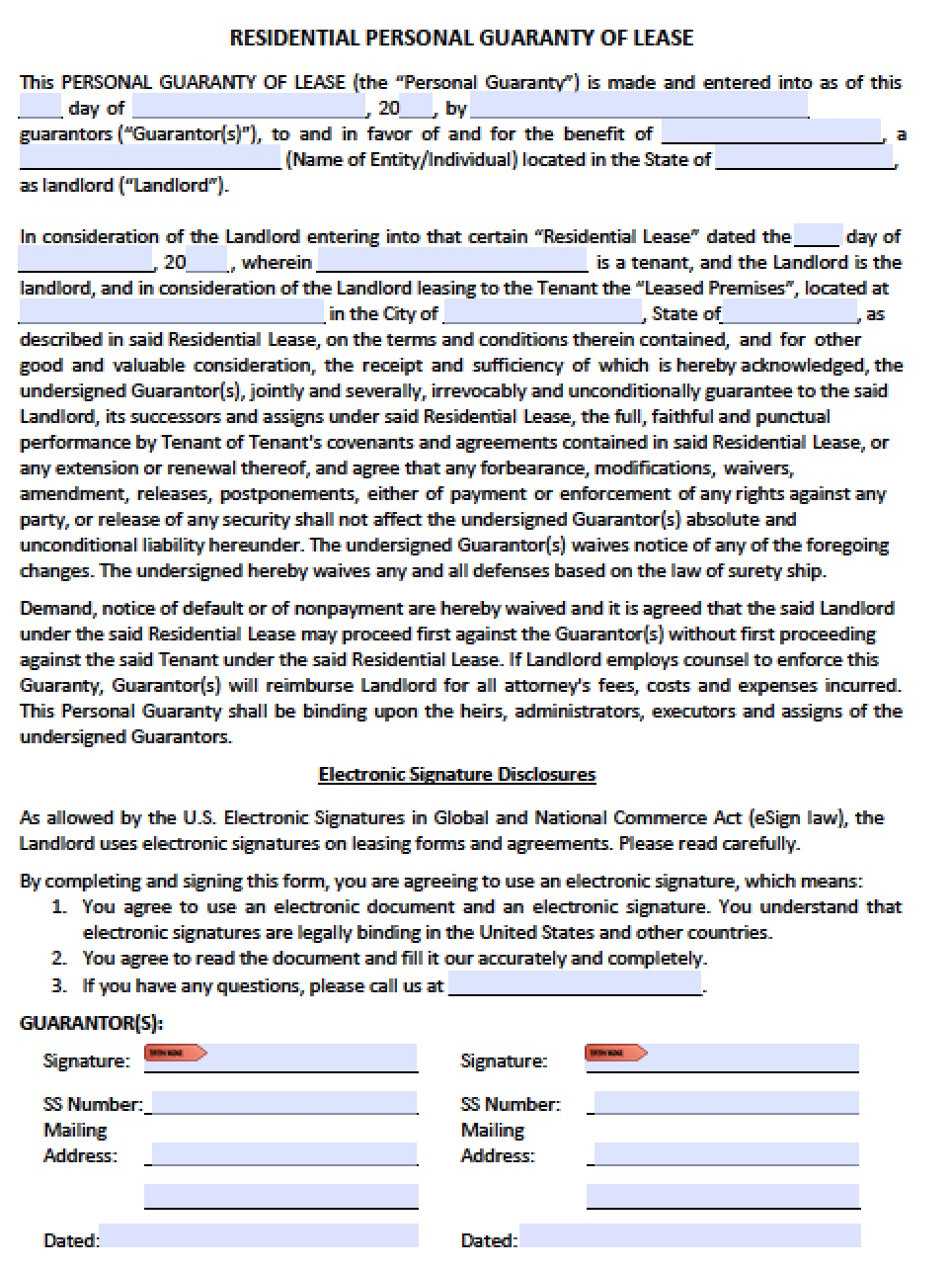 Download Personal Guarantee Agreement Forms Leases