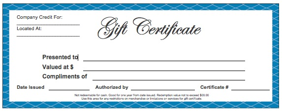 Formal Gift Certificate Template – Adobe PDF and Microsoft Word