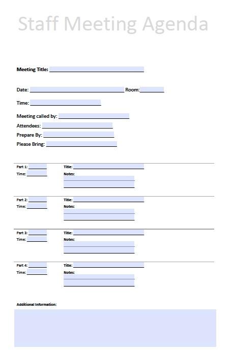 Staff Meeting Agenda Template – PDF – Word