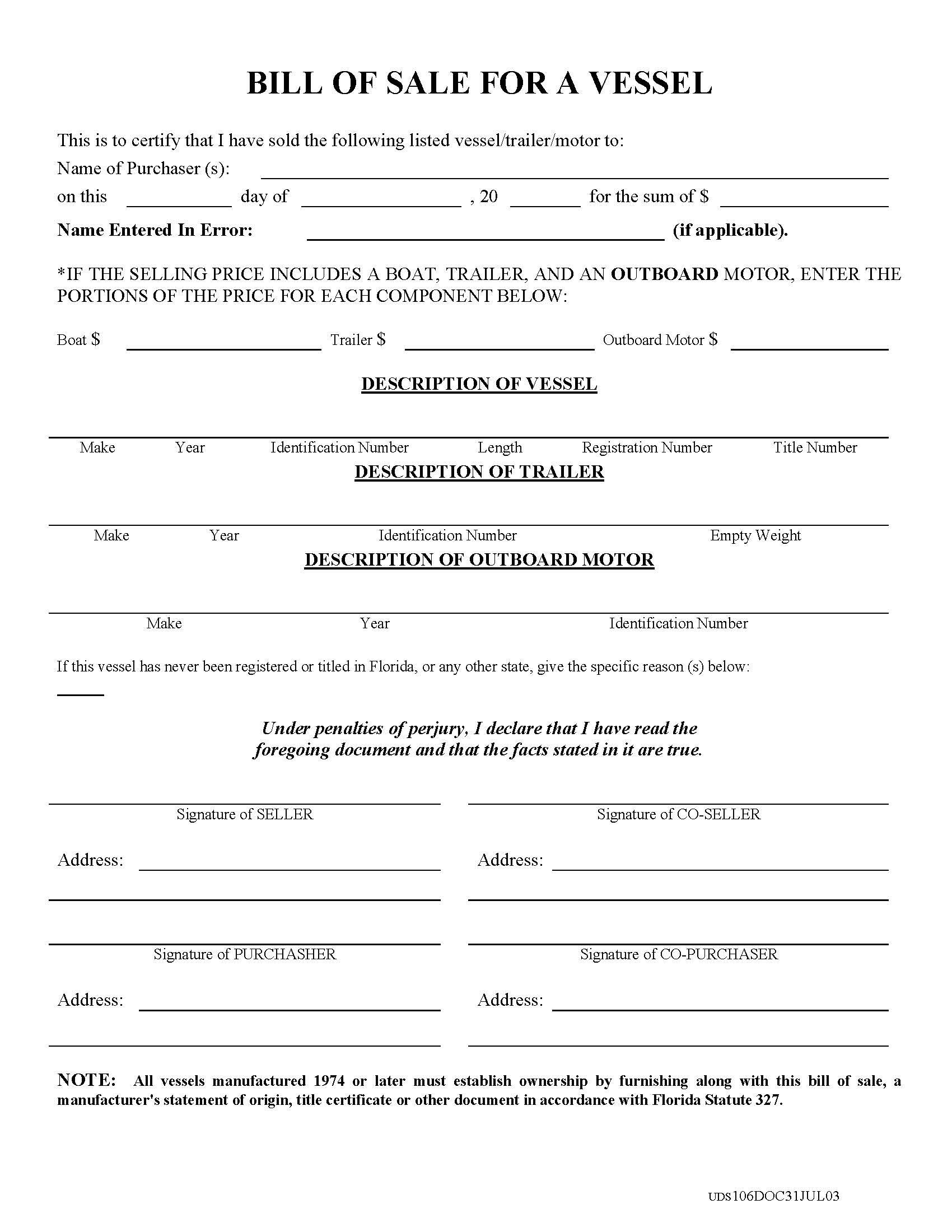 Texas boat bill of sale form template car interior design for Texas motor vehicle bill of sale