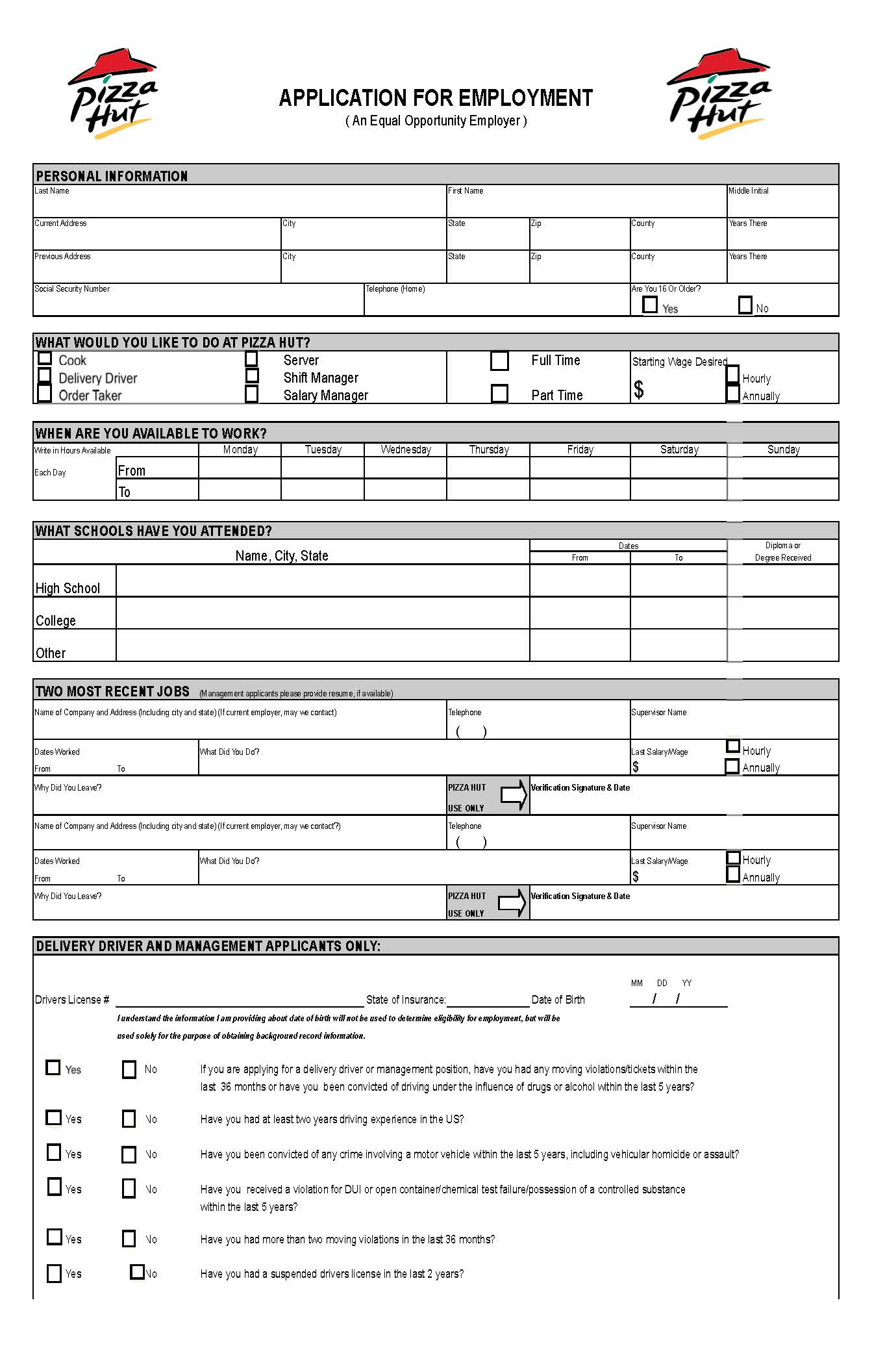 Job Applications Printable Pizza Hut Job Application