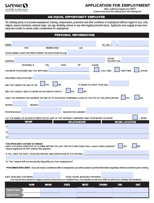 safeway application 28 images safeway employment application pdf