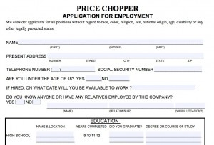 Download Price Chopper Job Application Form Fillable Adobe Pdf