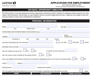 safeway-job-application-non-residents-california-300x247 Job Application Form Safeway on free generic, part time, blank generic,