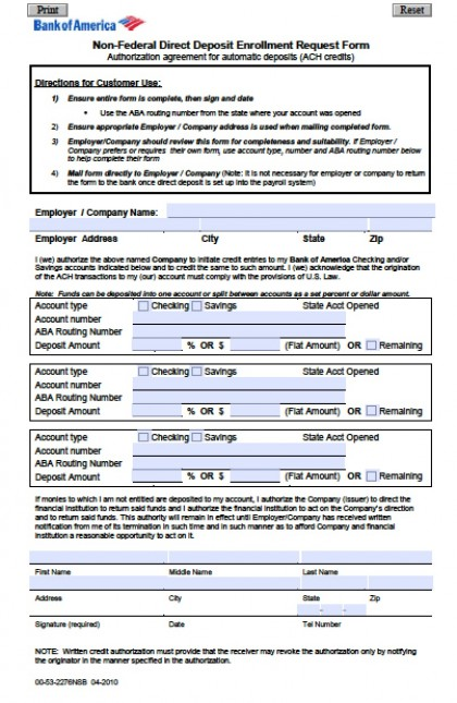 deposit form bank  Download Bank of America Direct Deposit Form | PDF