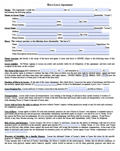 Download Horse Rental Lease Agreement Forms And Templates