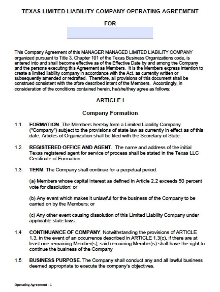 Download Texas Llc Operating Agreement Template