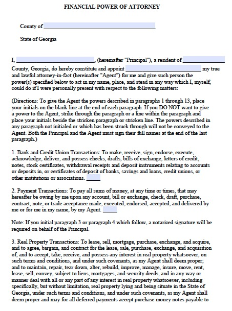 download georgia power of attorney forms and templates