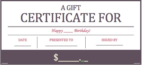 Printable Birthday Party Gift Certificate Template
