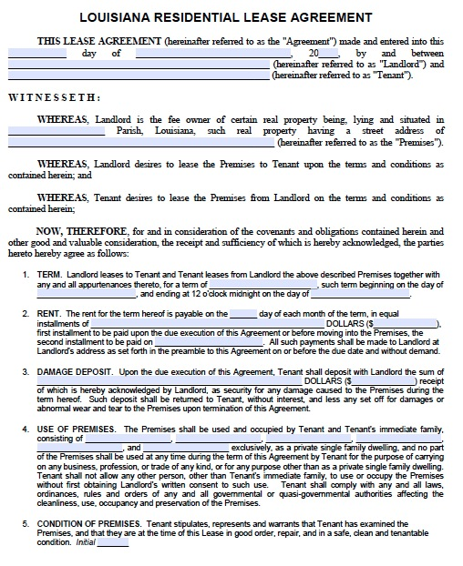 download louisiana rental lease agreement forms and templates pdf
