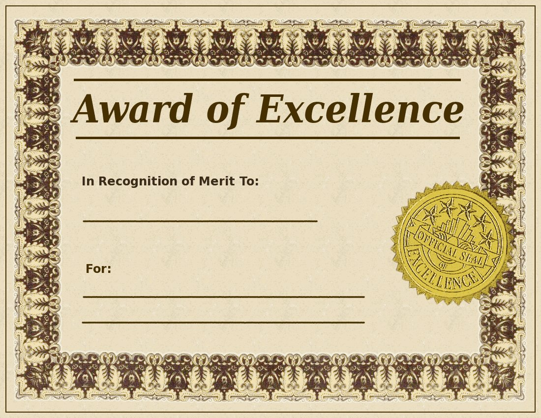 Award Excellence Template on oscar letter clip art