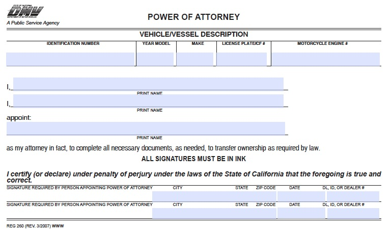 Download California Motor Vehicle Power Of Attorney Form Dmv