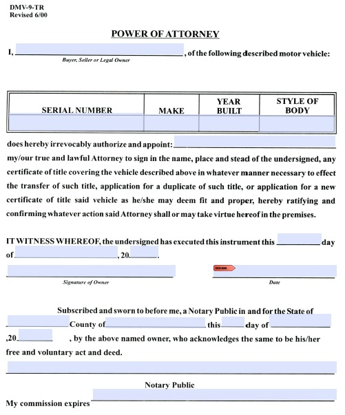 Download West Virginia Motor Vehicle Power Of Attorney Form Dmv 9