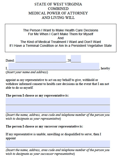Download West Virginia Medical Health Care Power Of Attorney Form