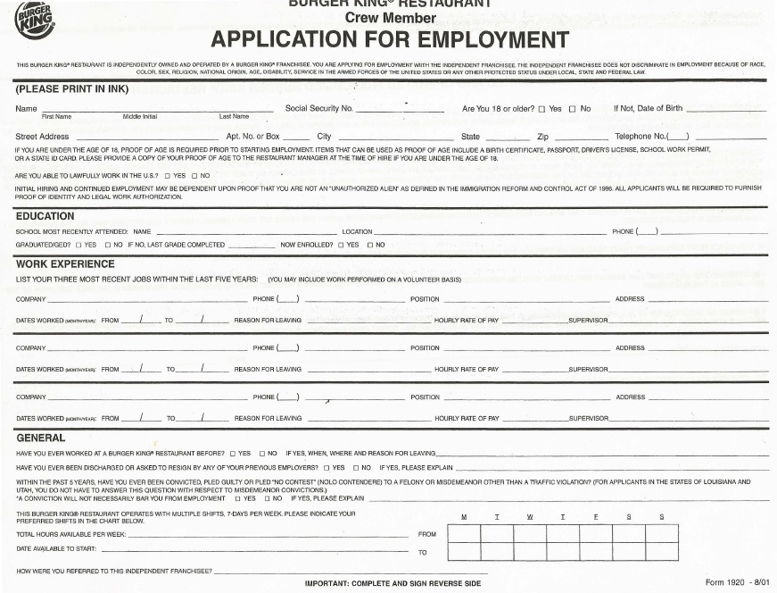 Download Burger King Job Application Form | Fillable PDF wikiDownload