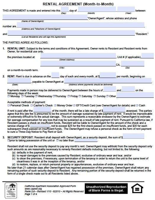 Download California Rental Lease Agreement Forms And