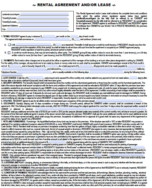 Download California Rental Lease Agreement Forms And Templates Pdf