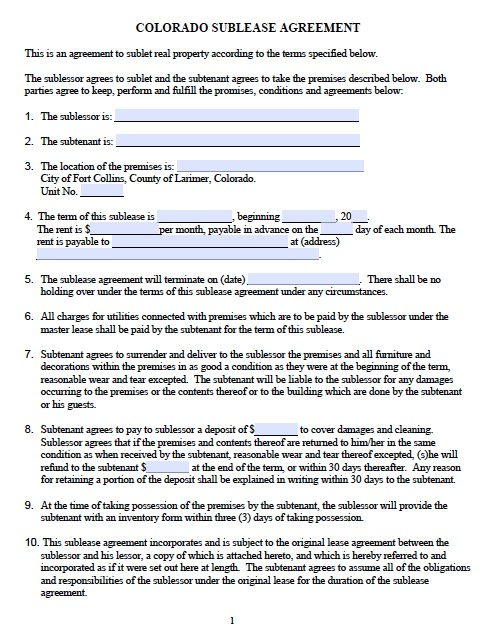 Download Colorado Rental Lease Agreement Forms And Templates