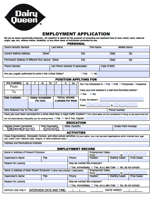 dairy queen application form pdf  Download Dairy Queen Job Application Form - PDF wikiDownload