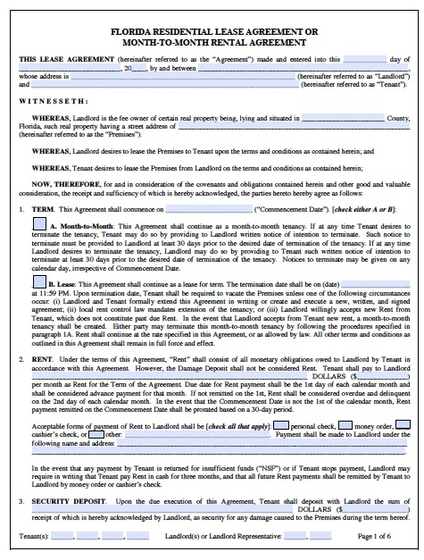 Download Florida Rental Lease Agreement Forms And