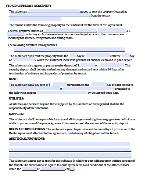 Download Florida Rental Lease Agreement Forms And Templates Pdf