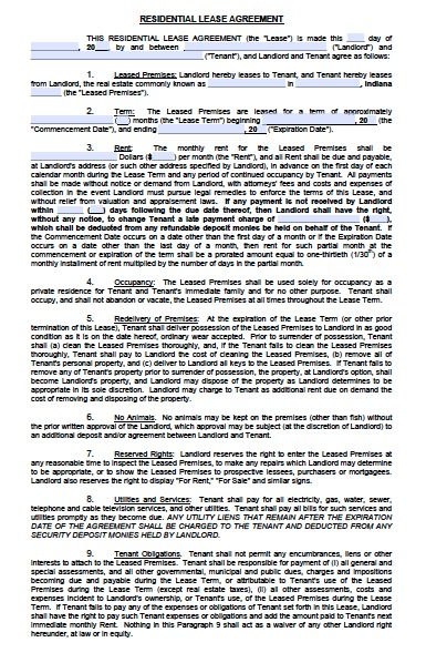 download indiana rental lease agreement forms and