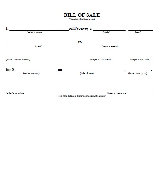 download iowa bill of sale forms and templates wikidownload
