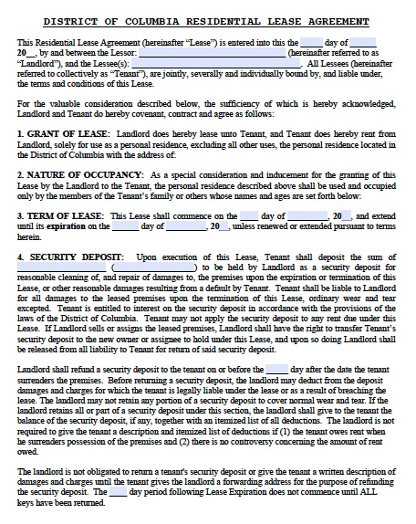 Download Washington Dc Residential Lease Agreement Forms And