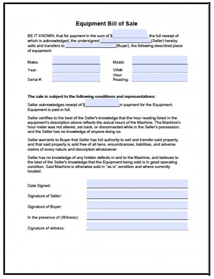 Download Equipment Bill Of Sale Form  Pdf  Rtf  Word Wikidownload