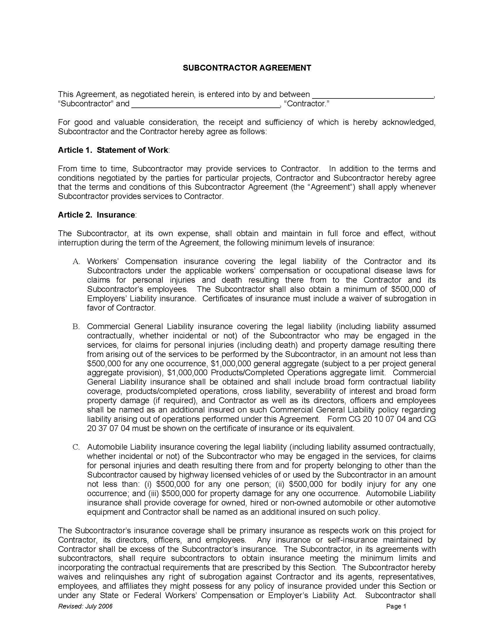 Download Subcontractor Agreement wikiDownload – Contractor Confidentiality Agreement
