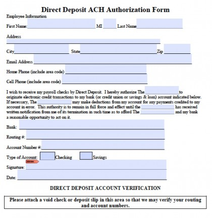 ACH Direct Deposit Authorization Sheet | PDF | RTF | Word