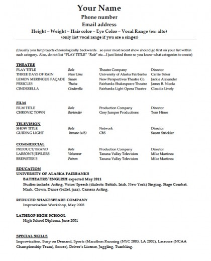 acting resume template pdf rtf word. Resume Example. Resume CV Cover Letter