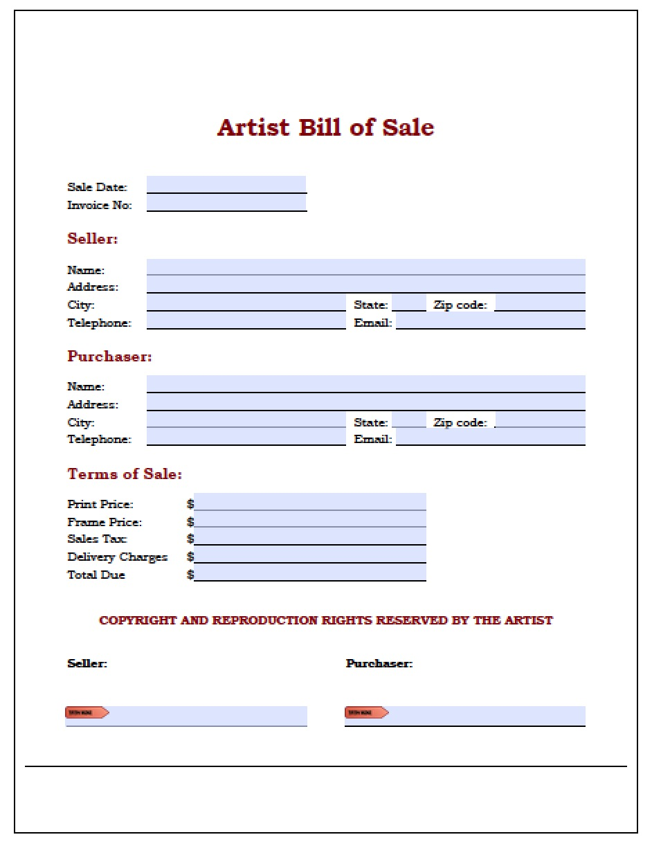 Art Bill Of Sale  Bill Of Sale Word Doc